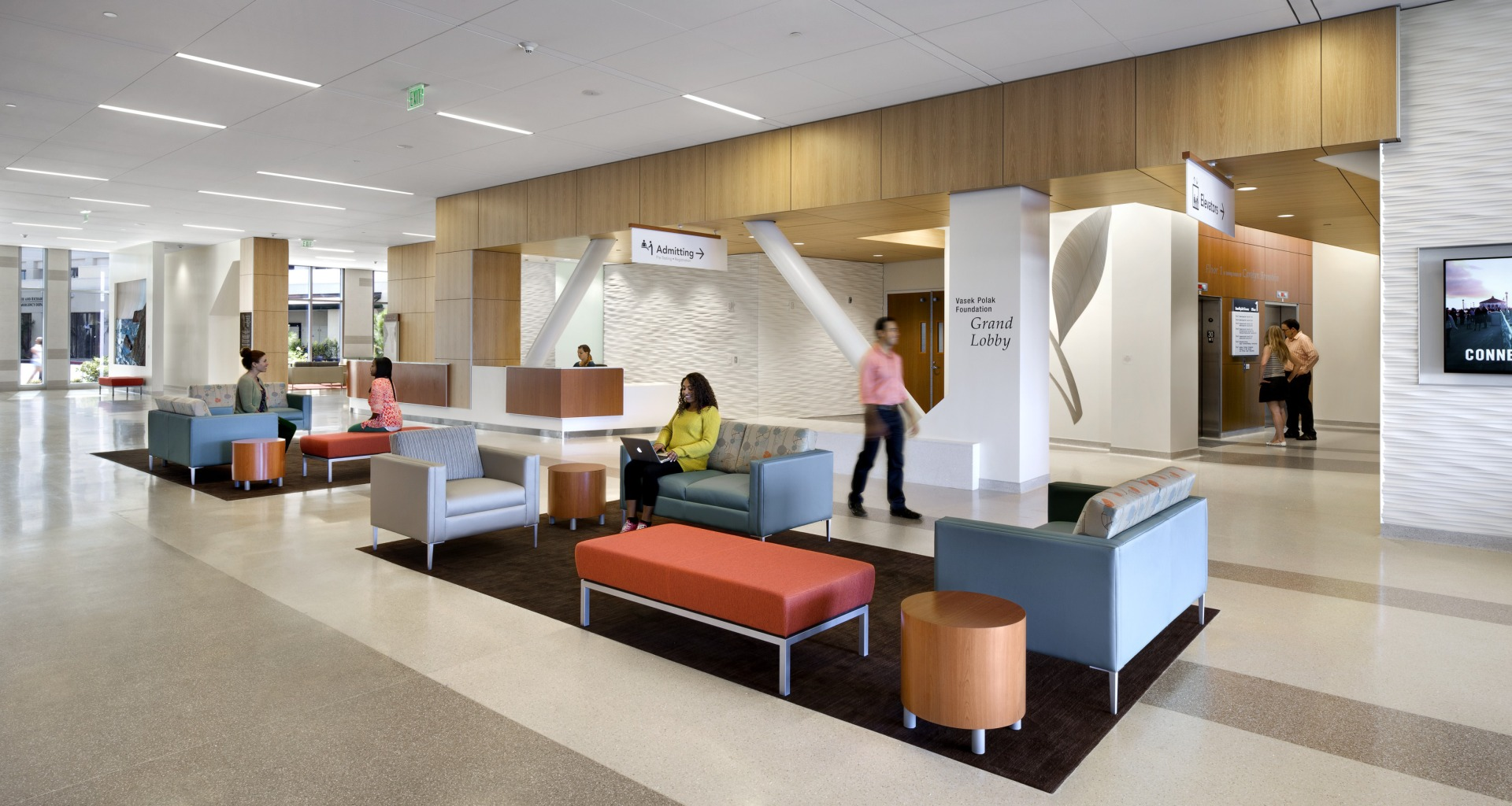 Hospital lobbies can be designed to provide areas for relaxation.