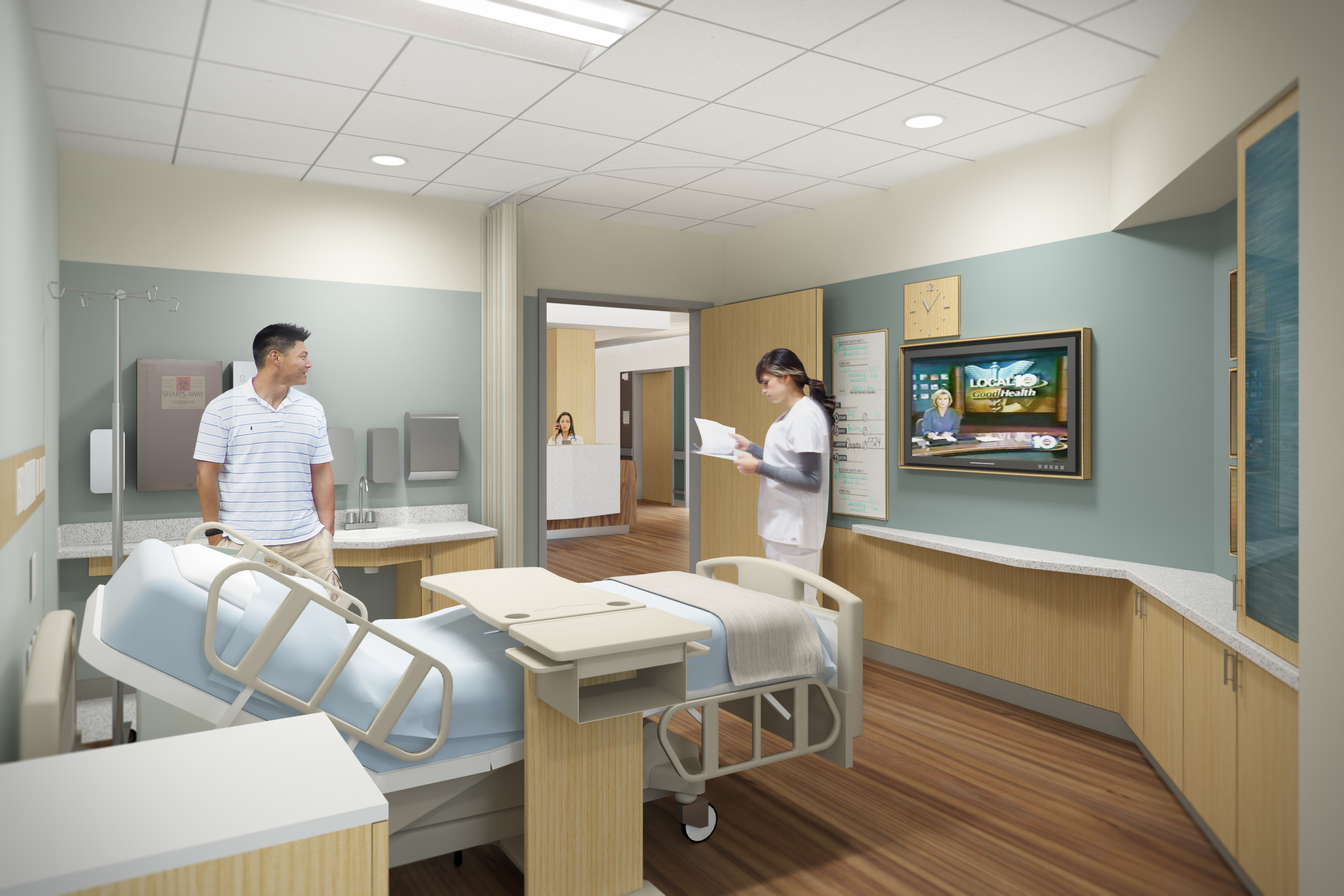 HMC Architects used hospital room design strategies in the Henry Mayo Newhall Hospital Patient Tower.