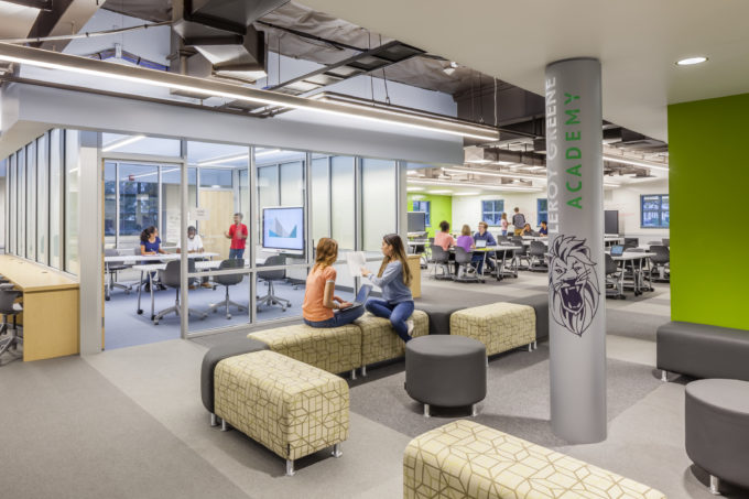 Innovative library seating makes it a flexible and usable space students can enjoy